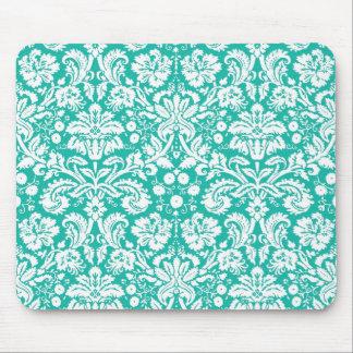 Aqua Turquoise Teal damask pattern Mouse Pad