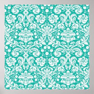 Aqua Turquoise Teal damask pattern Poster