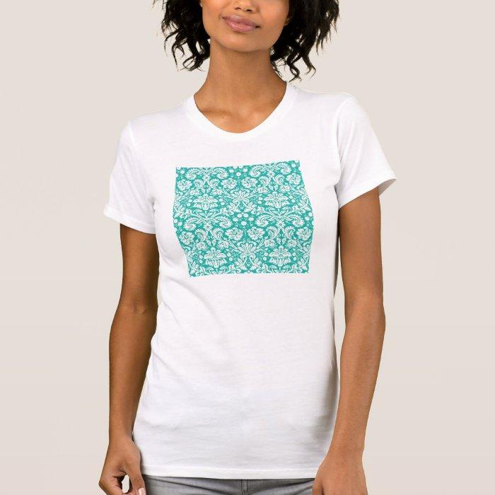 Aqua Turquoise Teal damask pattern T-Shirt