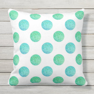Aqua Turquoise Textured Watercolor Polka Dots Outdoor Pillow
