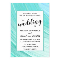 Aqua Turquoise Watercolor Paint Stroke Wedding Invitation
