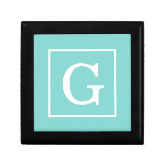 Aqua Turquoise White Framed Initial Monogram Keepsake Box