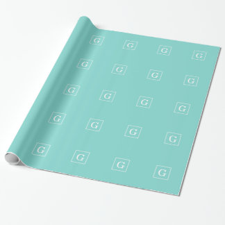 Aqua Turquoise White Framed Initial Monogram Wrapping Paper