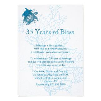 """Aqua Turtle Love Anniversary Invitation 5"""" X 7"""" Invitation Card"""