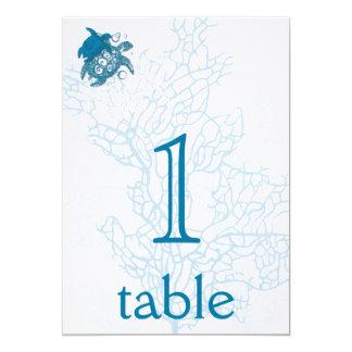 """Aqua Turtle Love Anniversary Table Number 5"""" X 7"""" Invitation Card"""