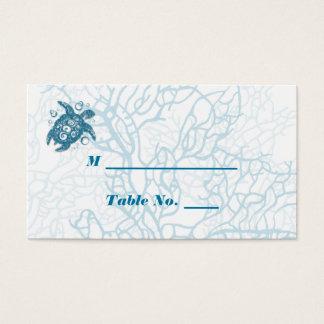 Aqua turtle Love Wedding Place Cards