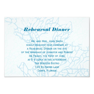 "Aqua Turtle Love Wedding Rehearsal 3.5"" X 5"" Invitation Card"
