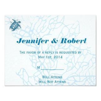 "Aqua Turtle Love Wedding Response Card 4.25"" X 5.5"" Invitation Card"