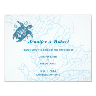 "Aqua Turtle Love Wedding Save the Date Card 4.25"" X 5.5"" Invitation Card"