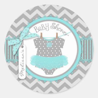 Aqua Tutu & Chevron Print Baby Shower Round Stickers