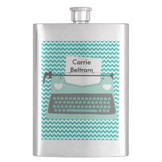 Aqua Typewriter Aqua White Chevron Stripe Flask