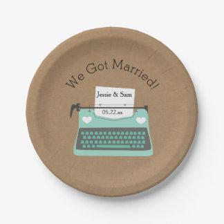 Aqua Typewriter Customized Wedding Paper Plates