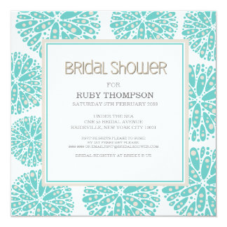 AQUA Under the Sea Coral Modern BRIDAL SHOWER 5.25x5.25 Square Paper Invitation Card