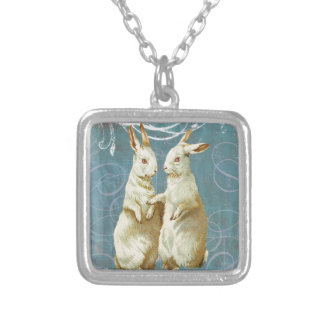 Aqua Victorian Easter Rabbit Bunnies Silver Plated Necklace