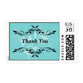Aqua Victorian Leaf Thank You  Stamp