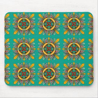Aqua Victorian Tile Design Mouse Pad