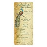Aqua Vintage Bird Wedding Program Order of Service Personalized Rack Card