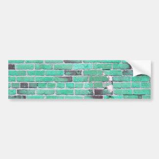 Aqua Vintage Brick Wall Texture Car Bumper Sticker