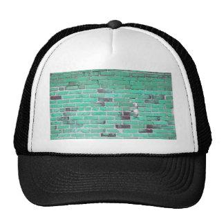 Aqua Vintage Brick Wall Texture Hat
