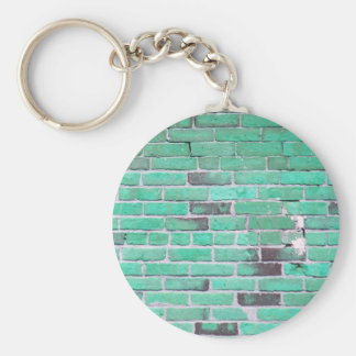 Aqua Vintage Brick Wall Texture Key Chain