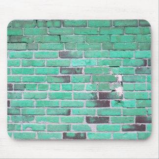 Aqua Vintage Brick Wall Texture Mouse Pad