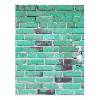 Aqua Vintage Brick Wall Texture Postcard