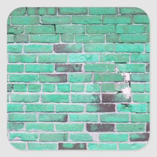 Aqua Vintage Brick Wall Texture Square Sticker