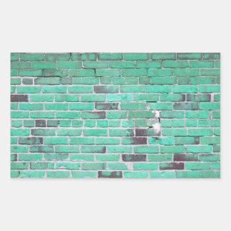 Aqua Vintage Brick Wall Texture Rectangular Stickers