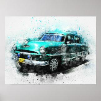 """Aqua Vintage Car 1950s  16"""" X 12"""" Poster"""