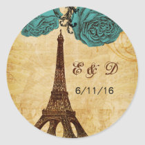 aqua vintage eiffel tower Paris envelopes seals