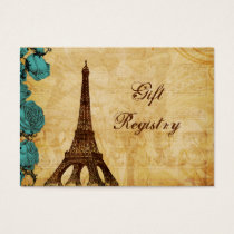 aqua vintage eiffel tower Paris Gift registry Business Card