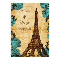 aqua vintage eiffel tower Paris save the date Card