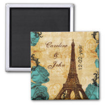 aqua vintage eiffel tower Paris save the date Magnet
