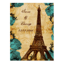 aqua vintage eiffel tower Paris save the date Postcard