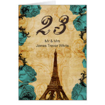 aqua vintage eiffel tower Paris Table Numbers