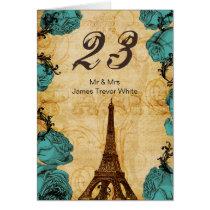 aqua vintage eiffel tower Paris Table Numbers Card