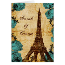 aqua vintage eiffel tower Paris thank you Card