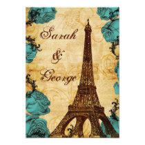 aqua vintage eiffel tower Paris wedding invite