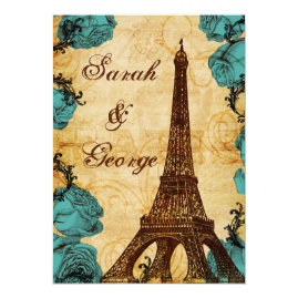 Tiffany Blue Vintage Eiffel Tower  Wedding Invitations