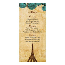 aqua vintage eiffel tower Paris wedding menu cards