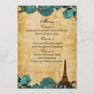 aqua vintage eiffel tower Paris wedding menu cards