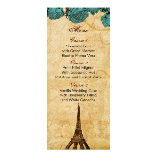 aqua vintage eiffel tower Paris wedding menu cards Rack Cards