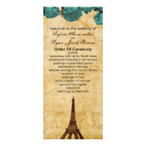 aqua vintage eiffel tower Paris wedding program