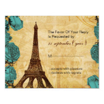 aqua vintage eiffel tower Paris wedding rsvp Card