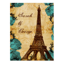 aqua vintage eiffel tower Paris wedding rsvp Postcard