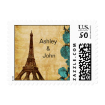 aqua vintage eiffel tower Paris wedding stamps