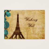 aqua vintage eiffel tower Paris wishing well card