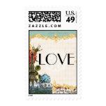 Aqua Vintage Eiffel Tower Rose Bridal Shower Postage Stamps