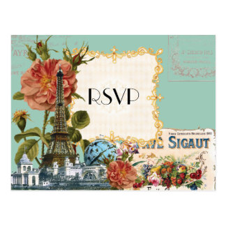 Aqua Vintage Eiffel Tower Rose Save the Date Card Postcard