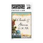 Aqua Vintage Eiffel Tower Rose Seating Place Card Postage Stamp